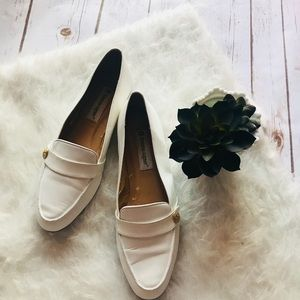 Etienne Aigner white leather loafers flats shoes
